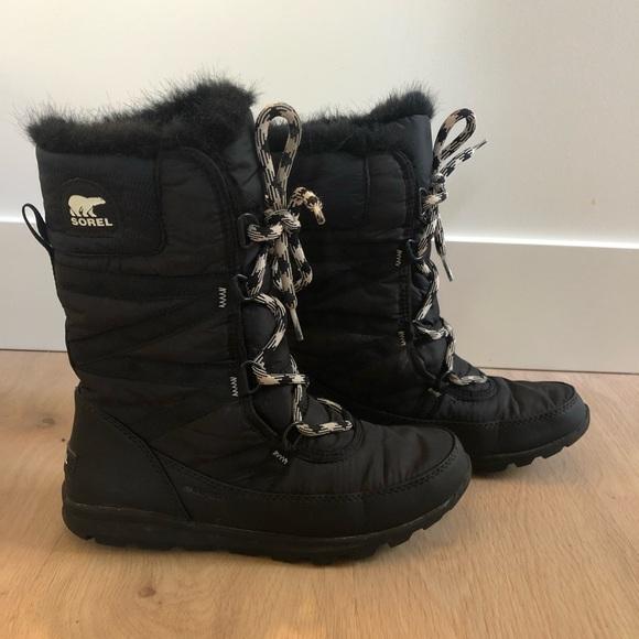 SOREL Whitney Tall Lace II Black Winter Boots Sz7